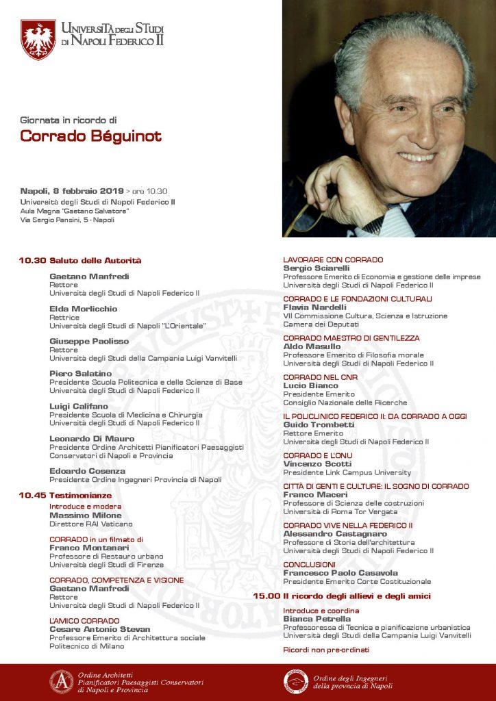 Giornata in ricordo di Corrado Béguinot – 8 febbraio 2019