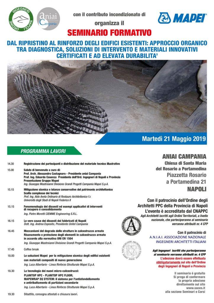 Seminario Formativo – Dal ripristino al rinforzo degli edifici esistenti: approccio organico tra diagnostica, soluzioni di intervento e materiali innovativi certificati e ad elevata durabilita'